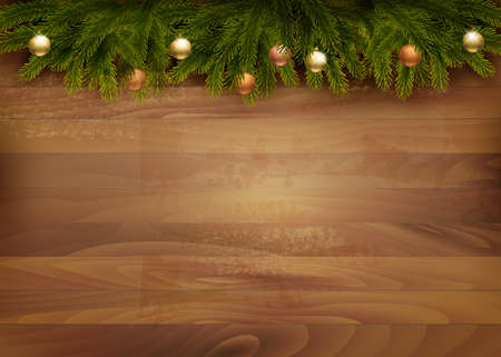 christmas ornamentation: Christmas decoration on wooden background. Vector.