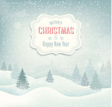 Retro holiday christmas background with winter landscape. Vector Vector