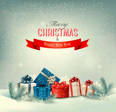 presents: Christmas winter background with presents. Vector.