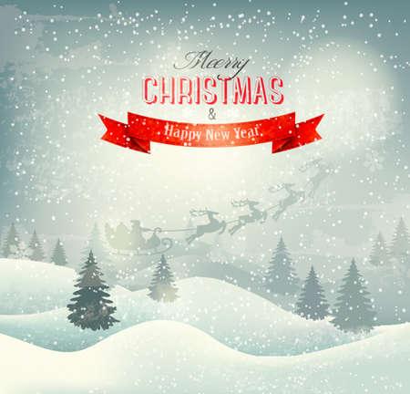 Kerst winter landschap achtergrond met santa slee. Vector. Stock Illustratie