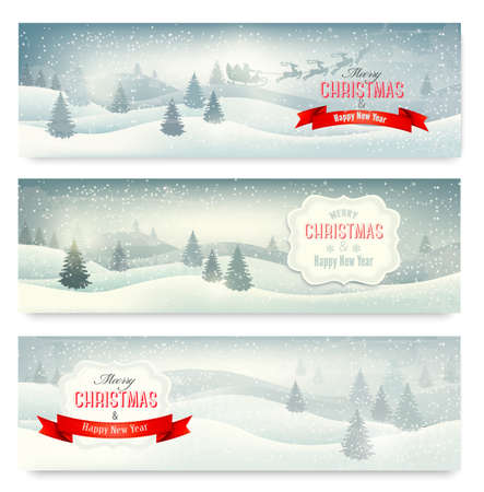 christmas night: Three christmas landscape banners. Vector.