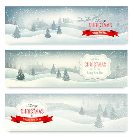 winter scene: Three christmas landscape banners. Vector.