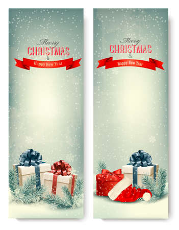 christmas trees: Two retro holiday banners with gift boxes and ribbons. Vector