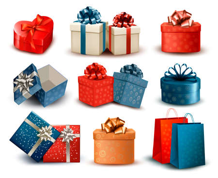 christmas presents: Set of colorful retro gift boxes with bows and ribbons. Vector illustration