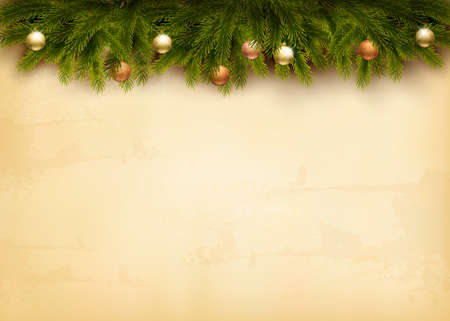 Christmas decoration on old paper background. Vector. Çizim