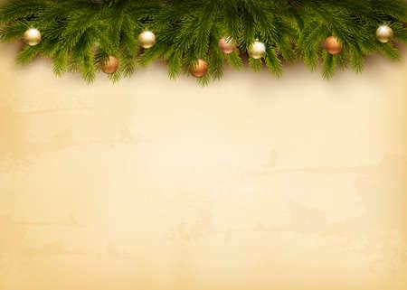 Kerst decoratie op oud papier achtergrond. Vector.
