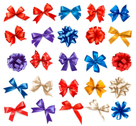 blue bow: Big set of colorful gift bows with ribbons. Vector.