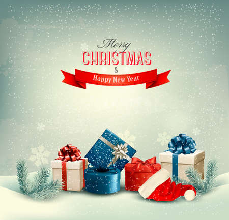 christmas gifts: Christmas winter background with presents. Vector.