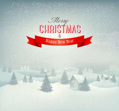 winter scene: Christmas winter landscape background. Vector.  Illustration