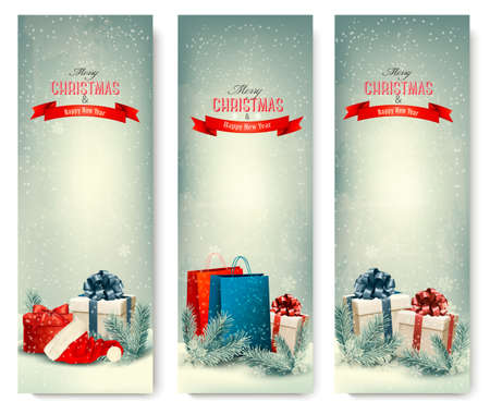 winter scene: Christmas winter banners with presents. Vector.