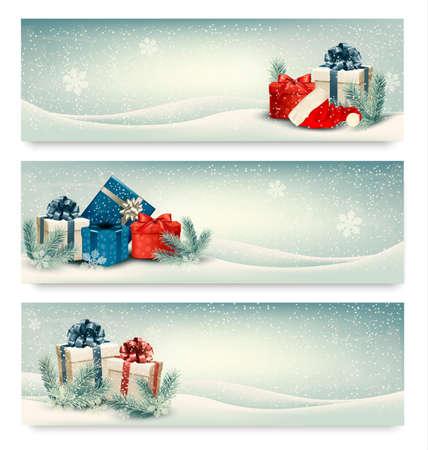 Banderas de invierno de Navidad con regalos. Vector. Foto de archivo - 24232757