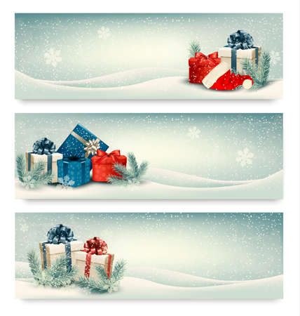 presents: Christmas winter banners with presents. Vector.