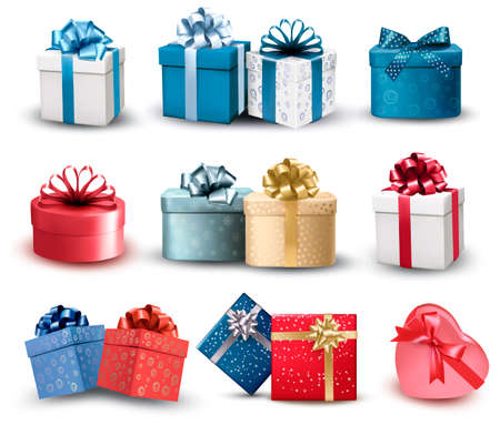 Set of colorful gift boxes with bows and ribbons. Vector illustration Illusztráció