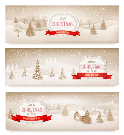 winter scene: Three christmas holiday landscape banners. Vector.  Illustration