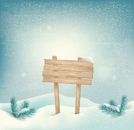 Christmas winter background with Wooden sign and landscape  Vector   Vector