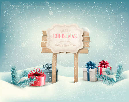 night scene: Christmas winter background with presents and wooden board  Vector