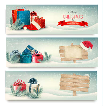 christmas wallpaper: Christmas winter banners with presents  Vector