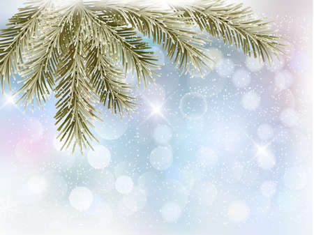 desember: Christmas background with tree branches and snowflakes  Vector  Illustration