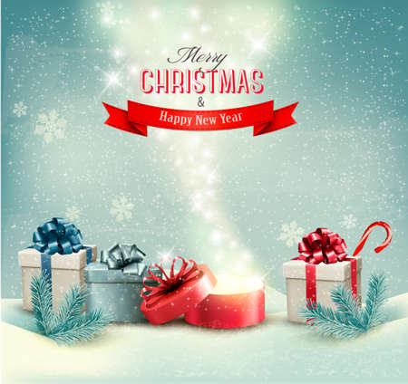 Christmas winter background with presents and open magic box Vector