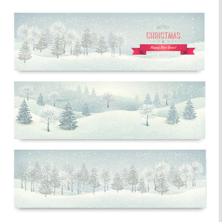 Christmas winter landscape banners  Vector Vector