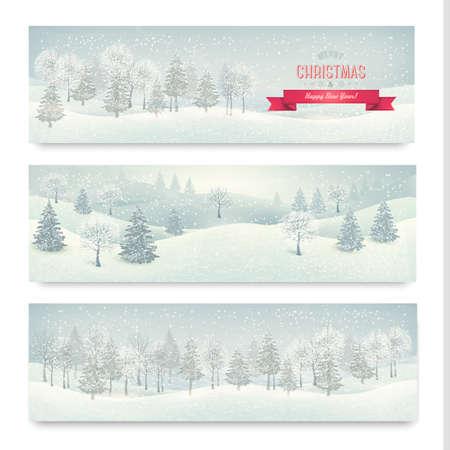 winter scene: Christmas winter landscape banners  Vector Illustration
