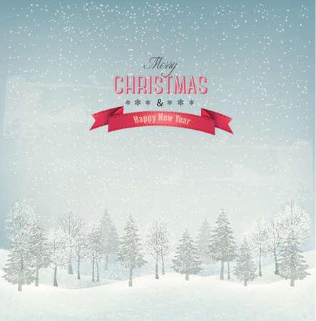 Vacances de Noël avec paysage d'hiver