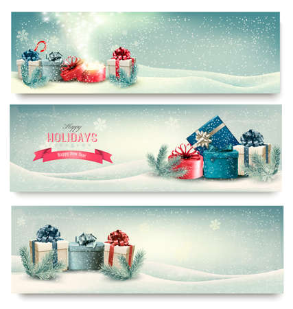 christmas landscape: Christmas winter banners with presents. Vector.