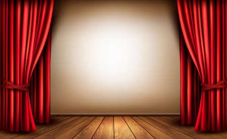 赤いベルベットのカーテンとフローリングの床の背景。ベクトル イラスト。