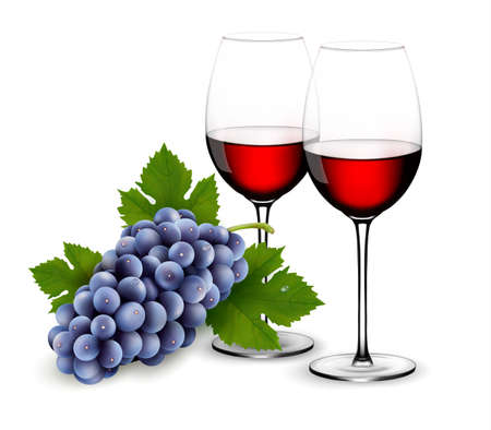 Two glasses of red wine with grapes. Vector.  Vector