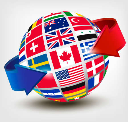 Flags of the world on a globe with an arrow. Vector illustration Vector
