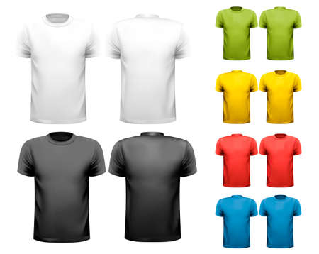 unisex: Colorful male t-shirts. Design template. Vector.