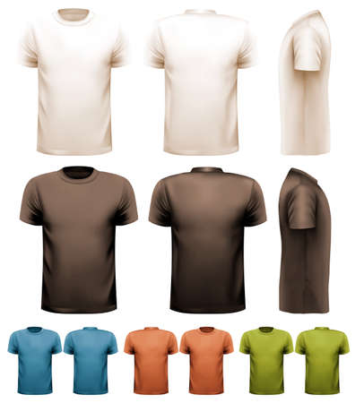 tshirt template: Colorful male t-shirts. Design template. Vector.