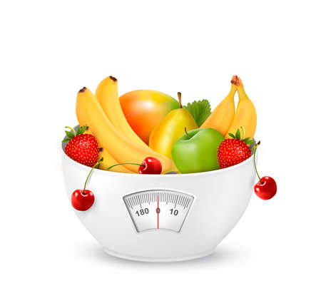 mix fruit: Fruit with in a weight scale. Diet concept. Vector.