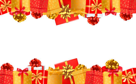 Holiday background with colorful gift boxes with bows. Vector illustration.  Vector
