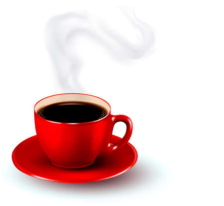 Perfect red cup of coffee with steam. Coffee design template. Vector illustration.
