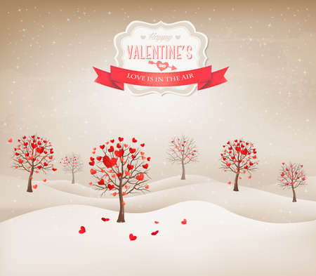 Holiday retro background. Valentine trees with heart-shaped leaves. Vector illustration.  Vector