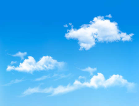 Blue sky with clouds. Vector background  Çizim