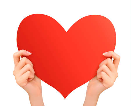 hands holding heart: Two hands holding red heart. Vector  Illustration