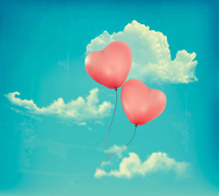 heartshaped: Valentine heart-shaped baloons in a blue sky with clouds. Vector retro background
