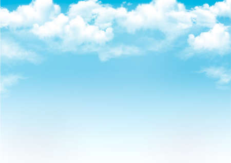 modrý: Modrá obloha s mraky. Vector background Ilustrace