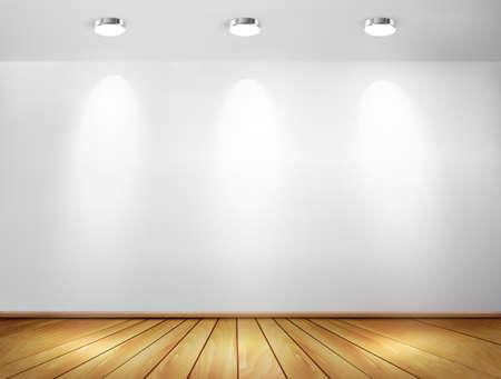 Pared con focos y suelo de madera. Concepto Showroom. Ilustración del vector.