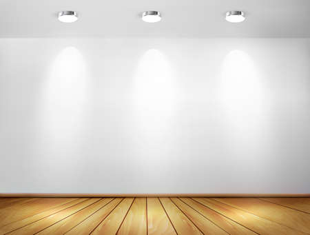 install: Wall with spotlights and wooden floor. Showroom concept. Vector illustration.