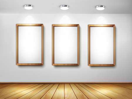 art gallery: Empty wooden frames on wall with spotlights and wooden floor. Vector illustration.  Illustration