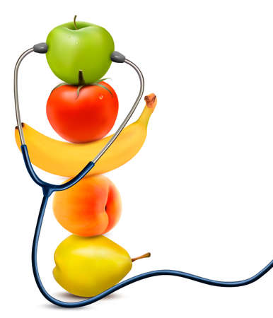 kilo: Fruit with a stethoscope. Healthy eating concept. Vector. Illustration