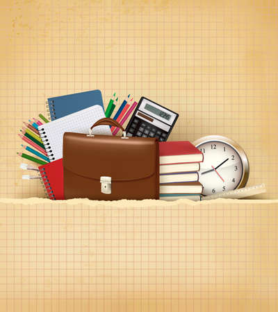 old school: Back to school Background with school supplies and old paper Vector  Illustration