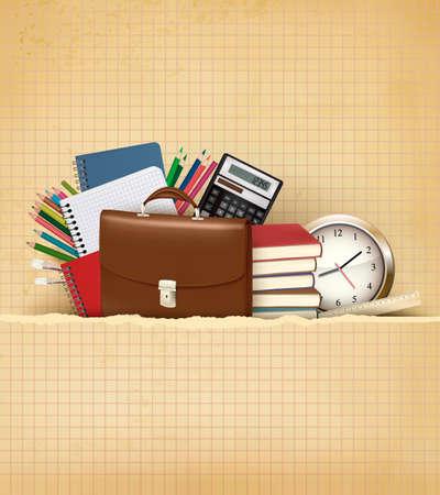 school supplies: Retour � l'�cole de fond avec des fournitures scolaires et du vieux papier Vector Illustration