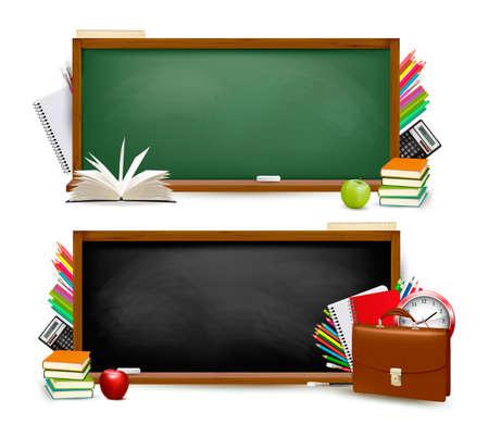 Volver a los banners school.Two con útiles escolares. Vector. Vectores
