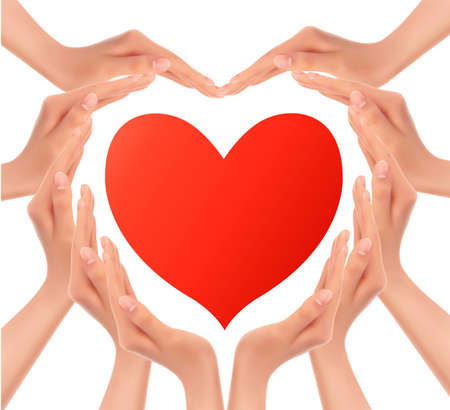 Heart of hands holding a red heart. Vector.  Vector