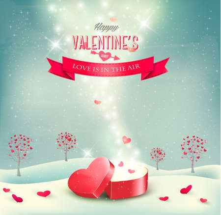 Valentine`s day background with an open red gift box. Vector.  Vector
