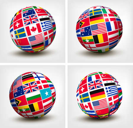 Flags of the world in globe. Vector illustration. Stock Vector - 25516769